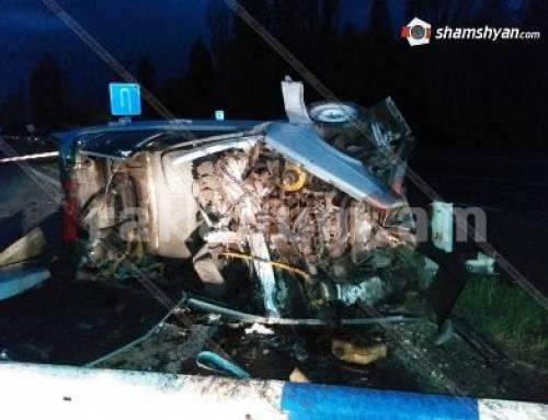 Ողբերգական վթար Կոտայքում. «ՎԱԶ 21099»-ը բախվել է արգելապատնեշին ու շրջվել. վարորդը տեղում մահացել