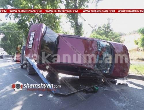 Խոշոր ավտովթար Երևանում. Իսակովի պողոտայում՝ ԱՄՆ դեսպանատան մոտ, Opel-ը բախվել է Mercedes-ին և գլխիվայր շրջվել. կա վիրավոր