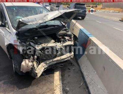Երեւանում Mitsubishi-ն բախվել է երկաթե արգելապատնեշներին. Վարորդը հիվանդանոցից հեռացել է՝ առանց բժիշկներին ասելու