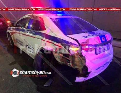 Երևանում 20-ամյա վարորդը Mercedes-ով բախվել է վթարի վայրում աշխատանքներ կատարող Երևանի ճանապարհային ոստիկանության ծառայողների Toyota-ին