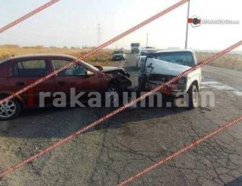 Խոշոր ավտովթար Արարատի մարզում. բախվել են Opel-ն ու «ՎԱԶ 2106»-ը. կա վիրավոր (ֆոտո)
