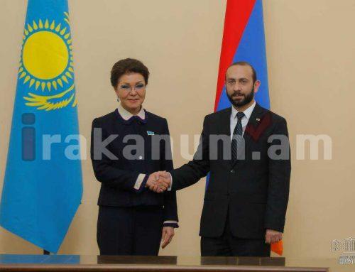 Արարատ Միրզոյանն ընդունել է պաշտոնական այցով Հայաստան ժամանած Ղազախստանի խորհրդարանի Սենատի նախագահ Դարիգա Նազարբաեւային
