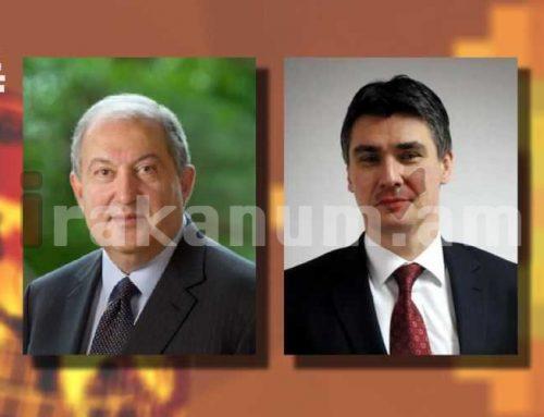 Արմեն Սարգսյանը շնորհավորել է Խորվաթիայի նախագահին՝ երկրի Պետականության օրվա առթիվ