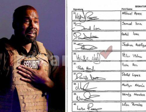 ԱՄՆ նախագահի թեկնածու առաջադրվելու համար Քանյե Ուեսթի ներկայացրած անհրաժեշտ ստորագրությունների մի մասը նույն ձեռագիրն ունեն․ Daily Mail (լուսանկար)
