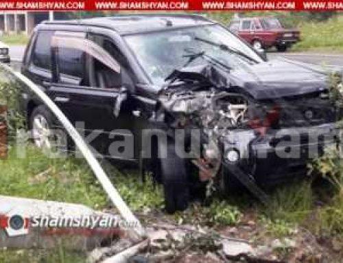 Լոռու մարզում 57-ամյա վարորդը Nissan X-Trail-ով բախվել է բետոնե էլեկտրասյանը և տապալել այն. կա վիրավոր