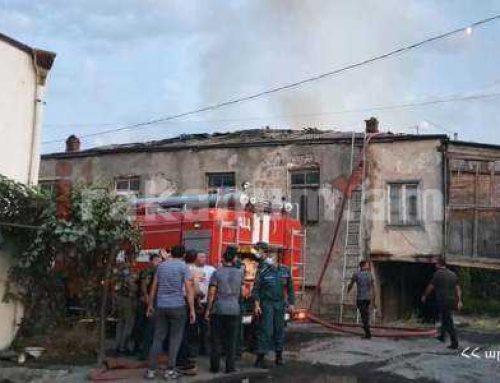 Խոշոր հրդեհ Պտղունք գյուղում. այրվում է երկհարկանի շենք. դեպքի վայրում է նախարարը