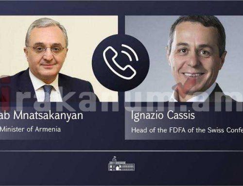 Զոհրաբ Մնացականյանի հեռախոսազրույցը Շվեյցարիայի արտաքին հարաբերությունների դաշնային դեպարտամենտի ղեկավար, դաշնային խորհրդական Իգնազիո Կասսիսի հետ