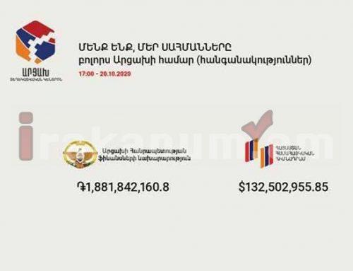 Արցախի համար ֆինանսական հանգանակության չափը այս պահի դրությամբ կազմում է 132,502,955.85 $