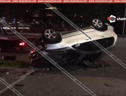 Խոշոր ավտովթար Երևանում. 21–ամյա վարորդը BMW X 5-ով բախվել է մայթեզրի բազալտե հատվածին և գլխիվայր հայտնվել «Մետրոպոլ» հյուրանոցային համալիրի տարածքում