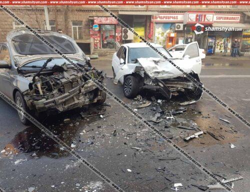 Ավտովթար Երևանում․ «Երևան Սիթի»-ի դիմաց ճակատ-ճակատի բախվել են KIa-ն ու LADA-ն․ կան վիրավորներ