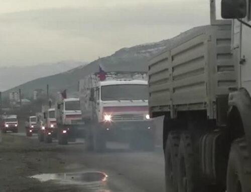 Ռուս խաղաղապահներն ուղեկցել են 180 տոննա մարդասիրական բեռ Քարվաճառ փոխադրող մեքենաները. ՌԴ ՊՆ