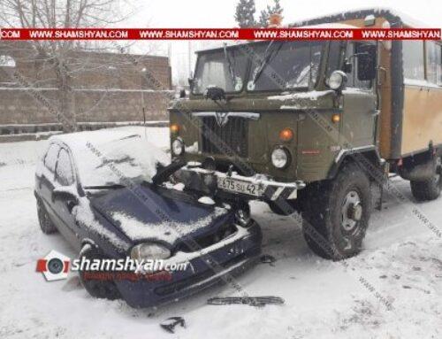 Ավտովթար Հրազդանում. բախվել են Opel Corsa-ն ու տեղի Ճանշինի ԳԱԶ 66-ը. կա վիրավոր