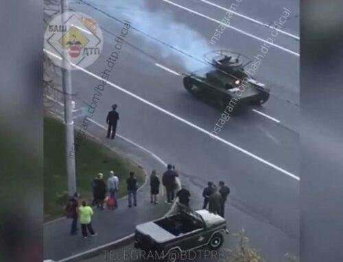Ռուսաստանում հաղթանակի շքերթի փորձի ժամանակ տանկ է բռնկվել (տեսանյութ)
