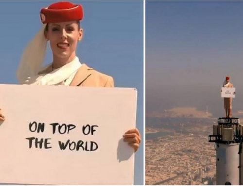 Emirates Airlines-ը «բորտուղեկցորդուհուն» կանգնեցրել է աշխարհի ամենաբարձր աշտարակի գագաթին (տեսանյութ)