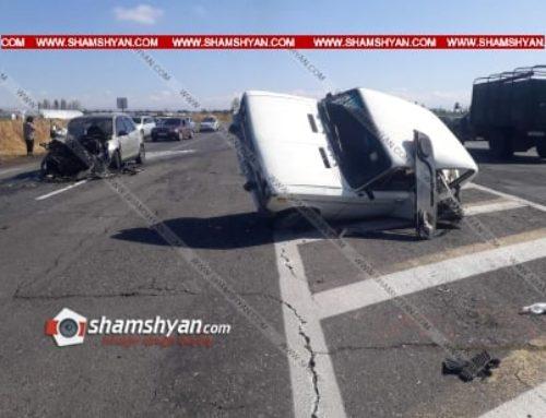 Խոշոր ավտովթար՝ Արմավիրի մարզում. բախվել են Mazda-ն ու «06»-ը, վերջինս կողաշրջվել է. կան վիրավորներ